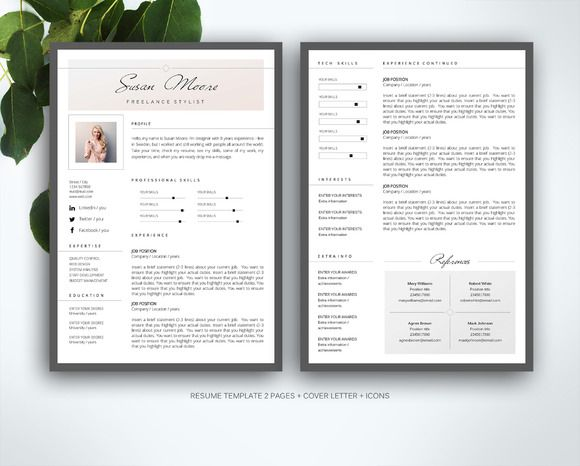 Resume template for MS Word by Fortunelle Resumes on @creativemarket - resume template