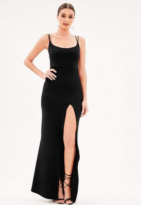 6de664f8a3bcfb Missguided Black Strappy Scoop Neck Split Fishtail Maxi Dress ...