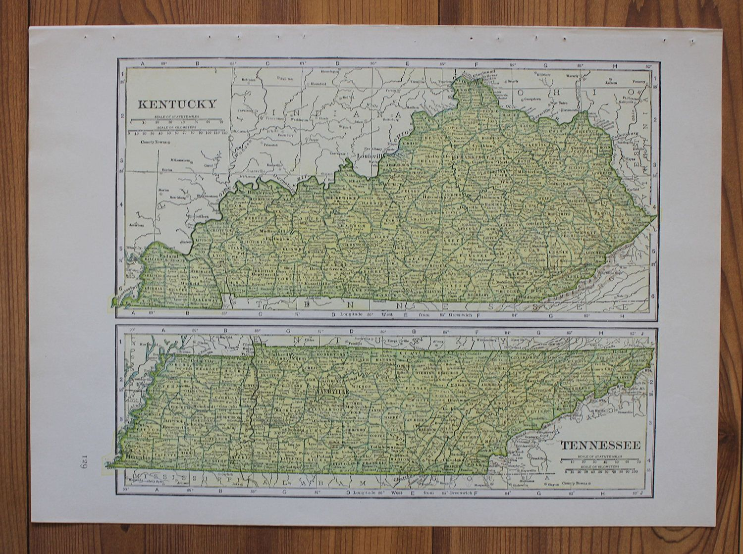 Kentucky tennessee or louisiana large map 1943 columbia standard kentucky tennessee or louisiana large map 1943 columbia standard illustrated world atlas antique gumiabroncs Choice Image