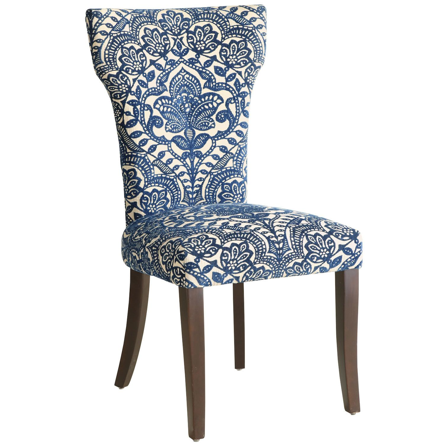 Carmilla Blue Damask Dining Chair With Espresso Wood  Dining Best Dining Room Chairs Pier One Review