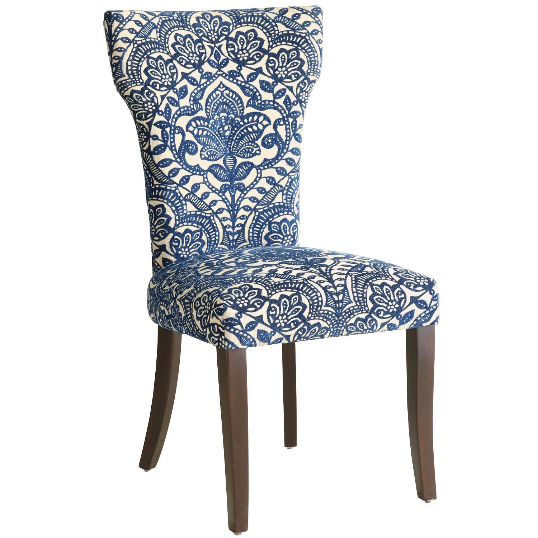 Carmilla Blue Damask Dining Chair With Espresso Wood