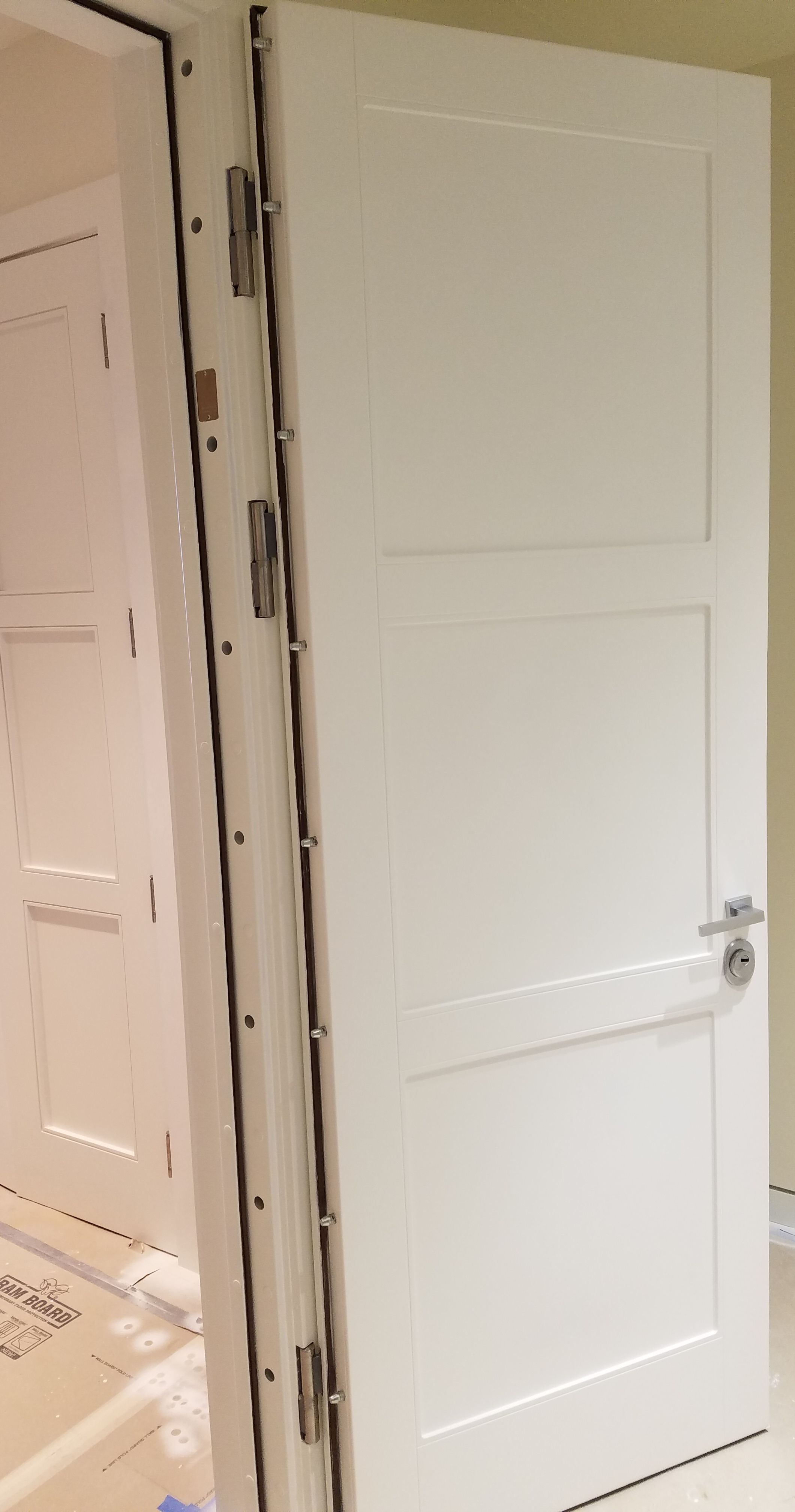 Custom High Security Bullet Resistant Doors With Decorative Wood Cladding To Match Existing Doors Security Door Steel Security Doors Doors
