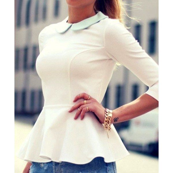 Sweet Peter Pan Collar 3/4 Sleeve Flounced Blouse For Women - White ...