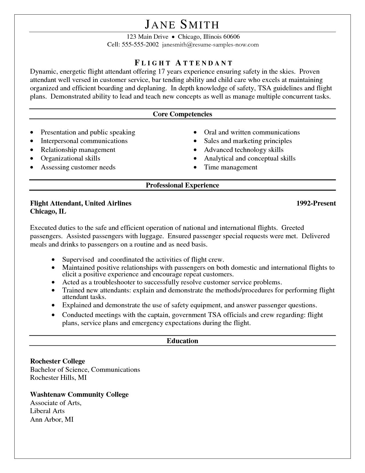 Core Competencies Resume Flight attendant resume, Resume