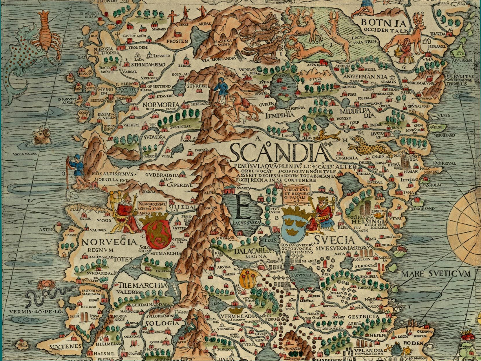 Olaus Magnus Map Of Scandinavia 1539 Section E Norway And Sweden Antique Maps Map Cartography Map
