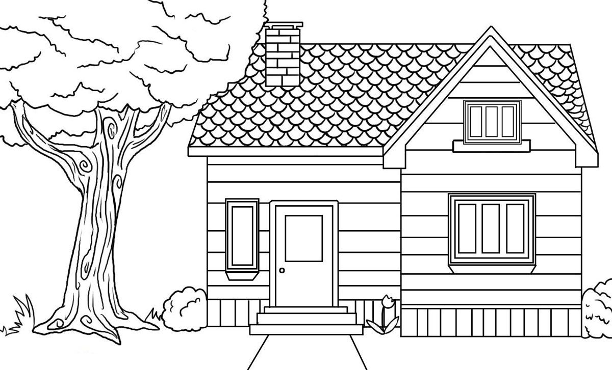 Coloring House Simple House Drawing