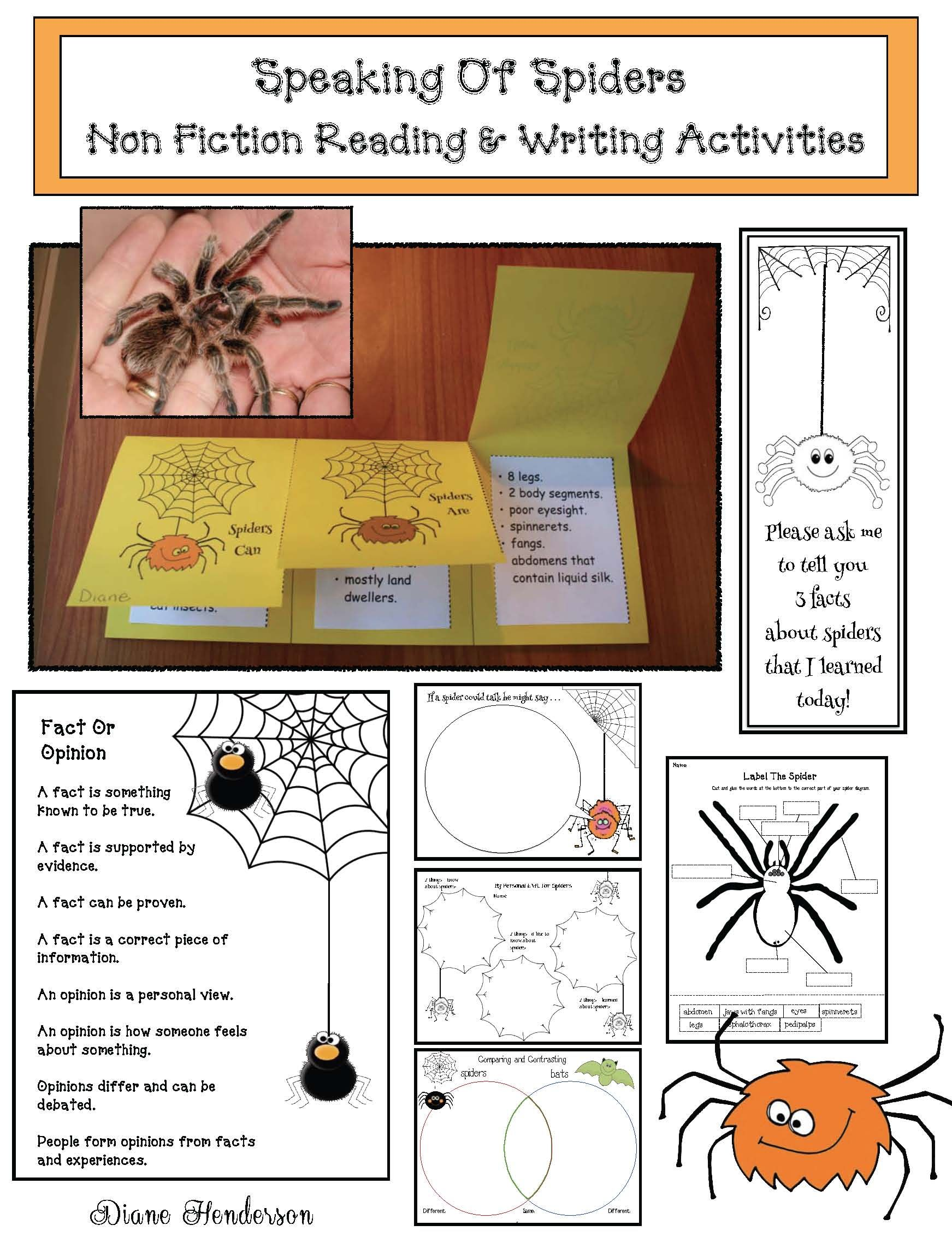 Speaking Of Spiders Non Fiction Reading Amp Writing