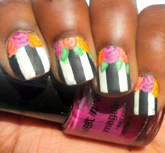 Graphic Floral Stripes Nail Art