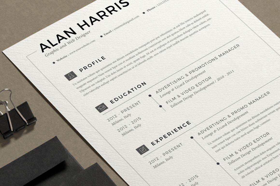 Resume Alan  Pages By Estartshop On Creativemarket  Portfolio