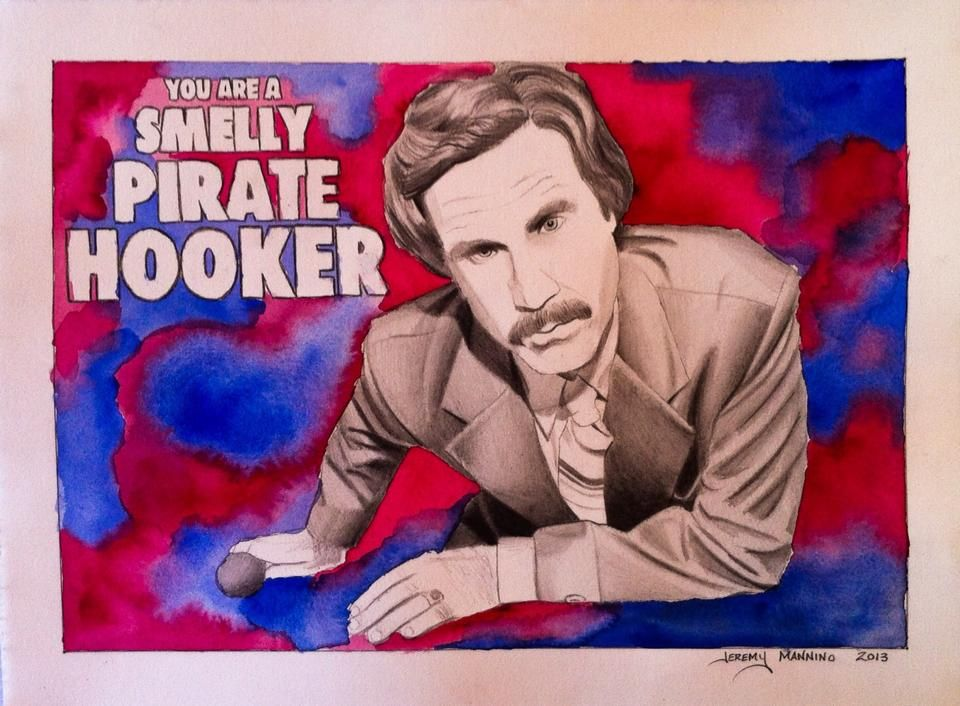 """Ron Burgundy, 11""""x15"""", Graphite and Watercolor on BFK rives paper, 2013"""