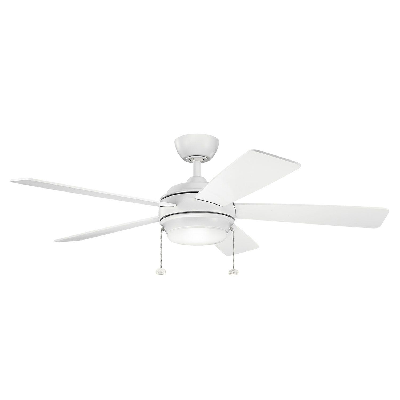 Kichler starkk matte white ceiling fan with light kit svetlá a kuchyne
