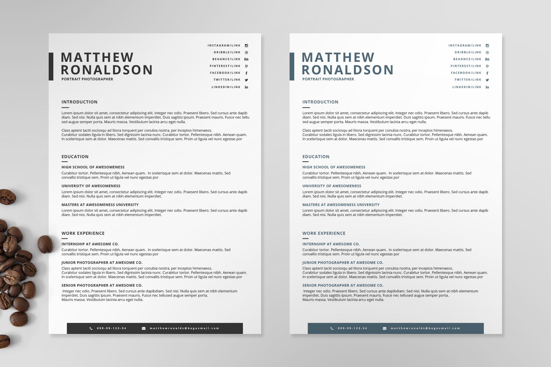 Resumecv template ix by print on creativemarket