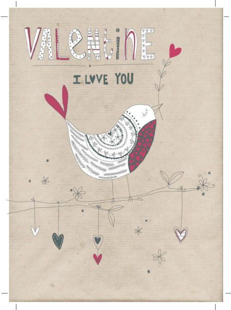 Jeannine Rundle - AD3004B VALENTINE BLACK AND WHITE BIRD ON MANILLA