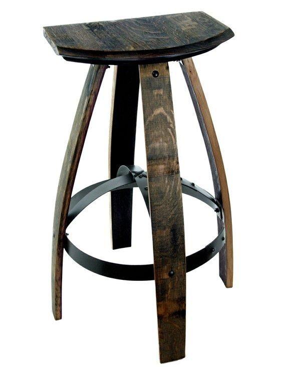 Natural Patina Bar Stool Made From Reclaimed Barrels