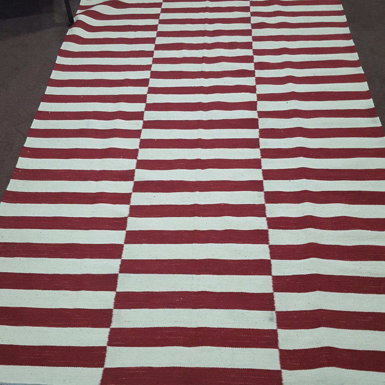 Made To Order Red And White Off White Striped Kilim Dhurrie Rug Flatweave Rug Striped Kilim Flat Weave Rug Striped Rug