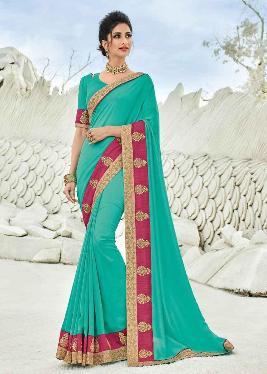 4bc3cbc38e ... raw silk unstitched blouse. Dazzling Green Color Silk Lace Border Saree  - Gunj Fashion Wedding Sarees Online, Saree Wedding