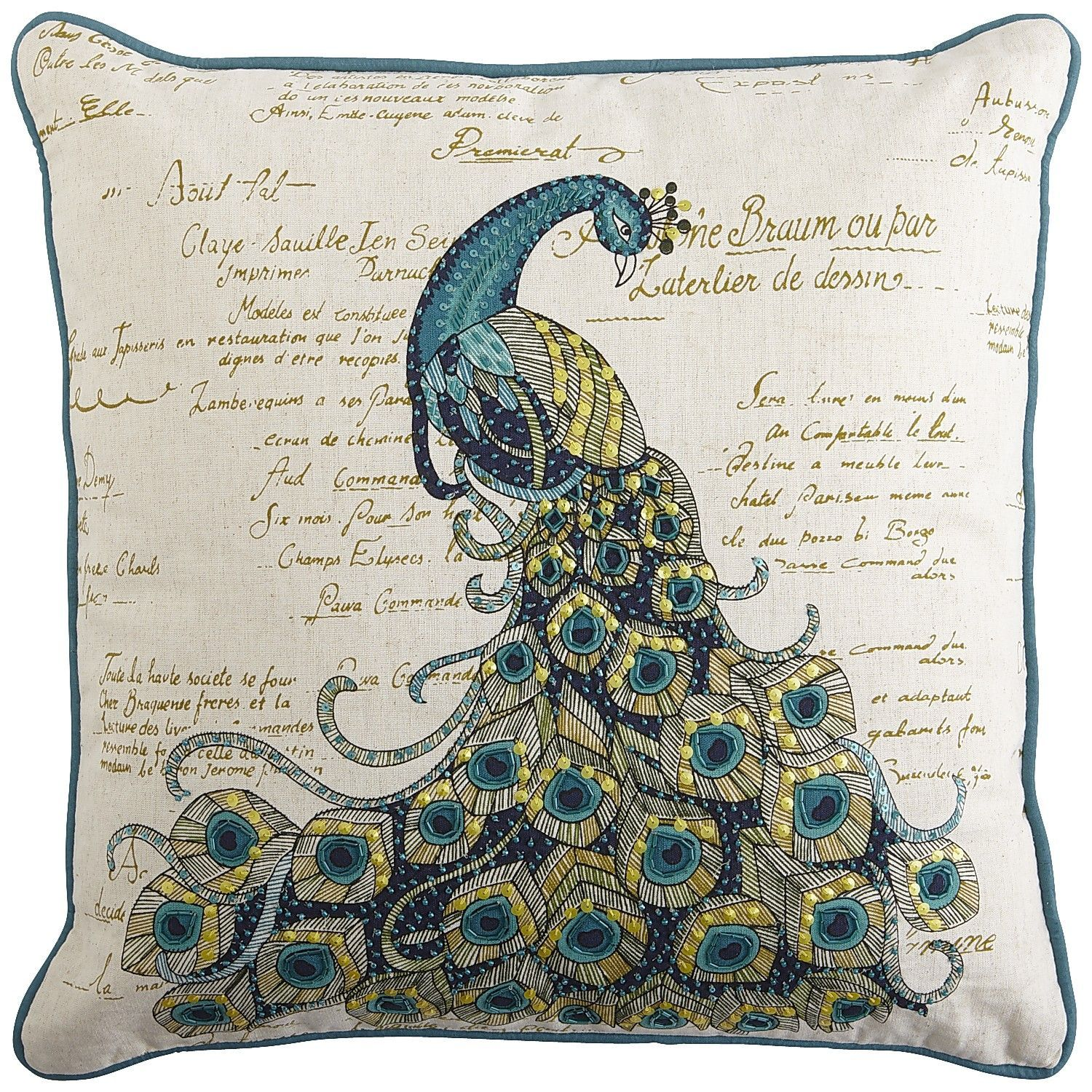 pier 1  scripted jeweled peacock pillow