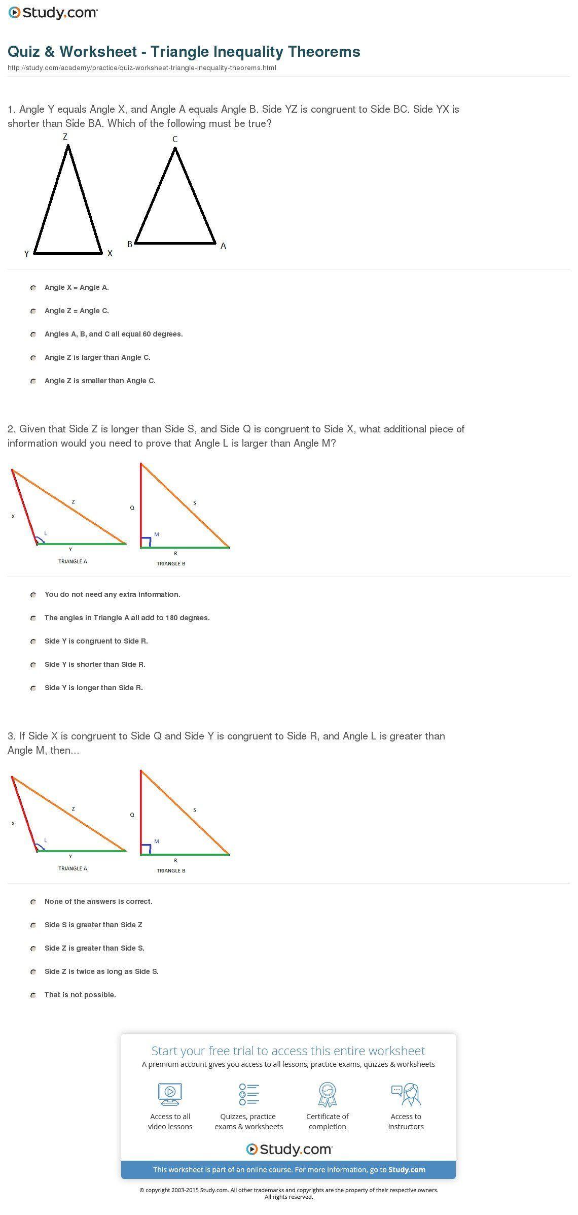 Triangle Inequality Worksheet A Triangle Inequality