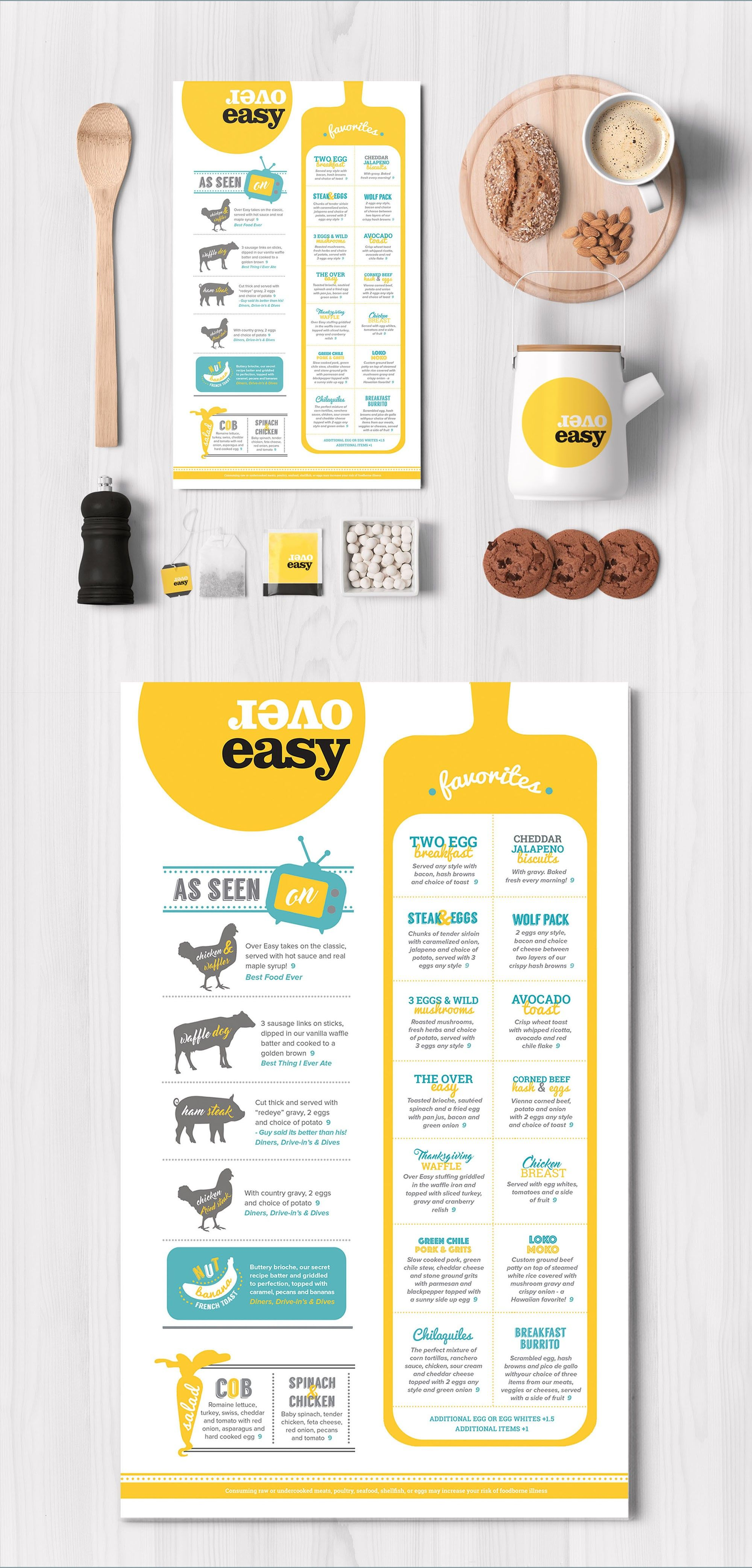 fun menu design for overeasy 99designs