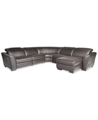Alessandro 5 Pc Leather Sectional Sofa With Chaise 2 Recliners Articulating Headrest 3 499 00 This Piece