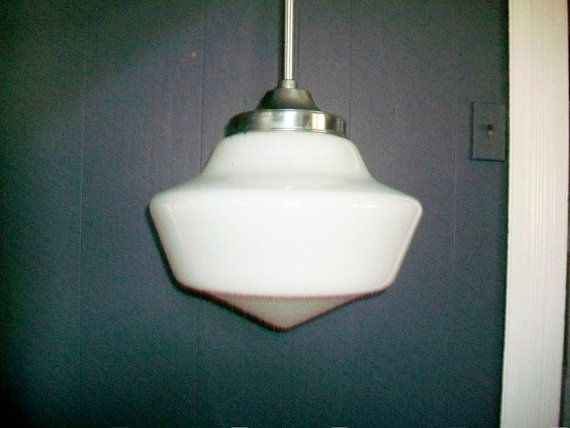 Milk Glass Bath Light: 1950s Hanging Light Fixture Vintage Schoolhouse Large Milk