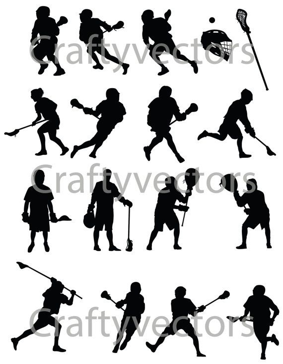 Lacrosse Silhouettes Vector File Svg