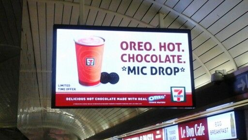 7 eleven hot chocolate ad in ny penn station