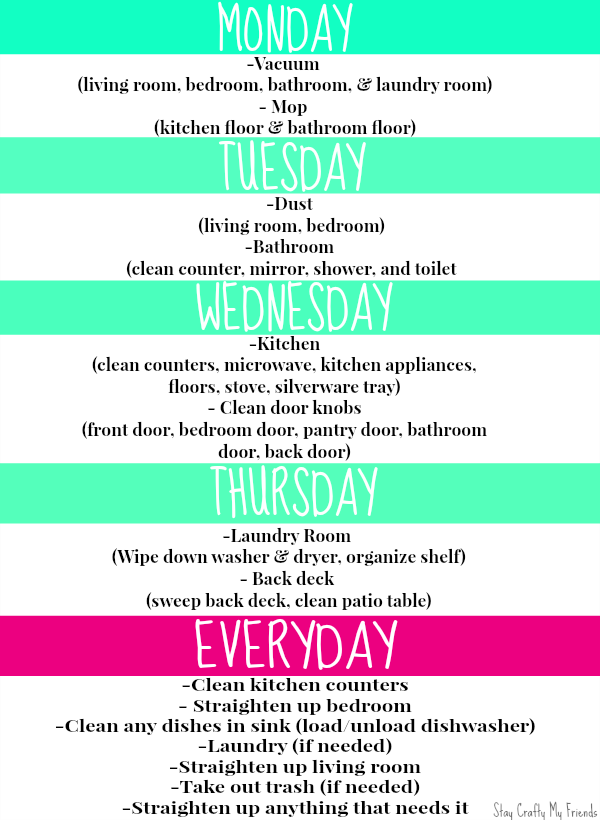 My Apartment Cleaning Schedule | Organization Ideas | Pinterest ...