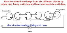 2 way intermediate lighting circuit wiring diagram snail external how to control one light bulb from six different places symbol lamp by using two switch and four switches electrical diagrams