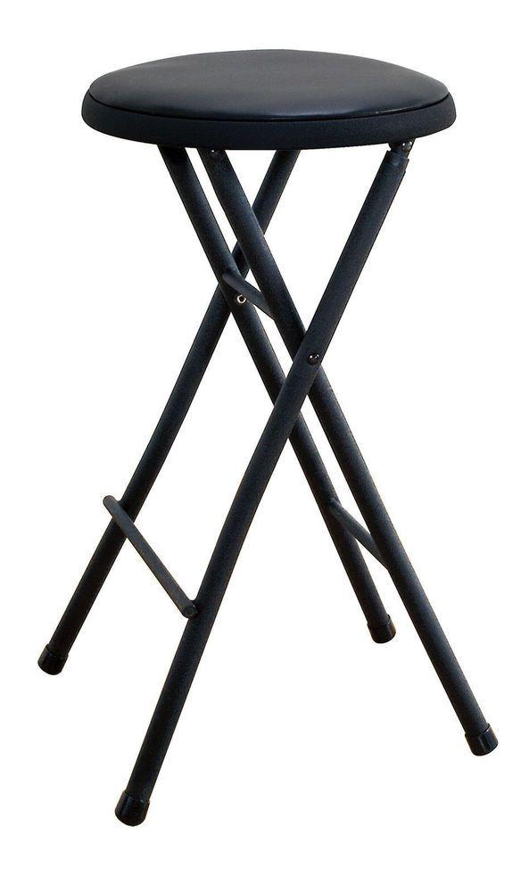 Round Folding Stool Seat Foldable Chair Kitchen Bar Counter Lightweight Black Portable Chair Folding Stool Stool