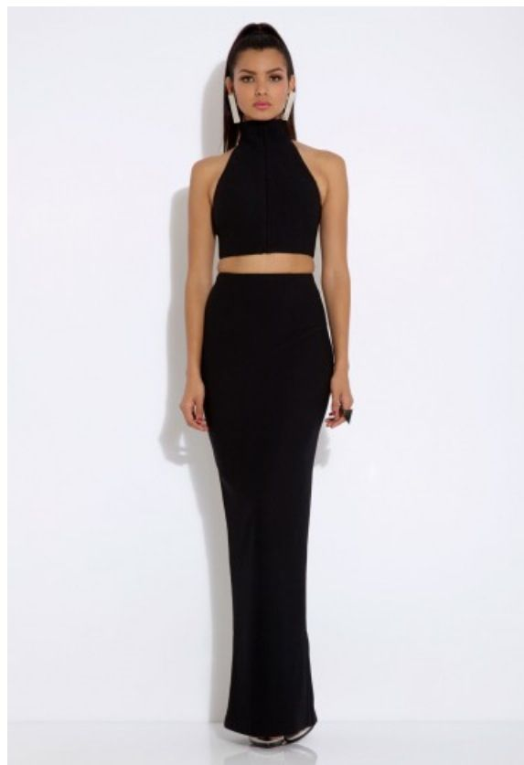 AQAQ black crop top and maxi skirt