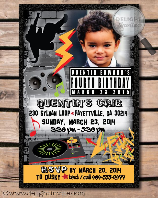 Hip Hop Party Invitations | HOME > 80s Rap Hip Hop Birthday ...