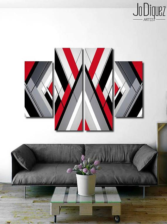 Original Geometric Painting Red Black Grey And White Grey Abstract Art Geometric Painting Living Room Canvas