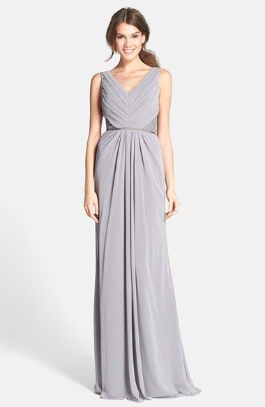 Monique Lhuillier Lace Back Chiffon in Slate http://shop.nordstrom ...
