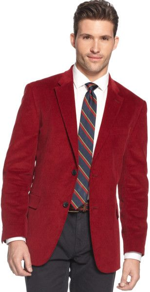 Men's Red Corduroy Sportcoat Slim Fit