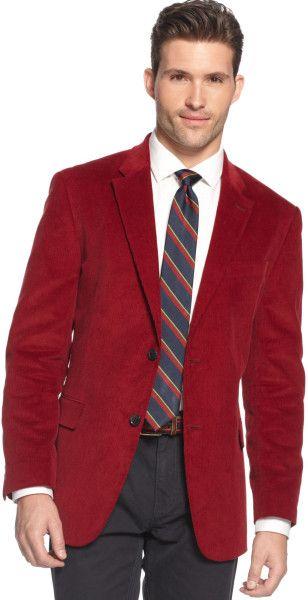 Men's Red Corduroy Sportcoat Slim Fit
