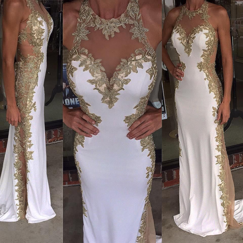 2016 White Prom Dresses Long With Gold Details And See Through Side ...