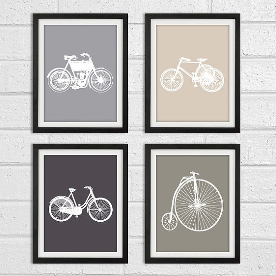 Vintage Bicycle Art Prints Kids Baby Nursery Wall Deco Set