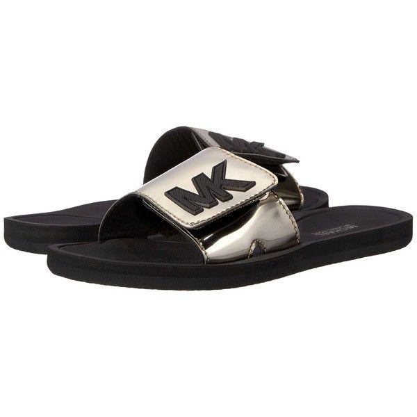 MICHAEL Michael Kors MK Slide (Nickel Mirror Metallic) Women's Sandals  ($35) ❤