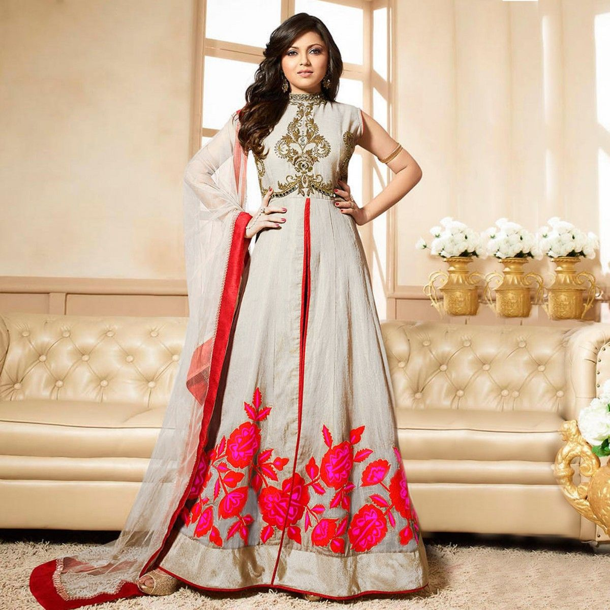 Buy Cream Anarkali Suit - Latest Anarkali Suit Online Shopping at ...