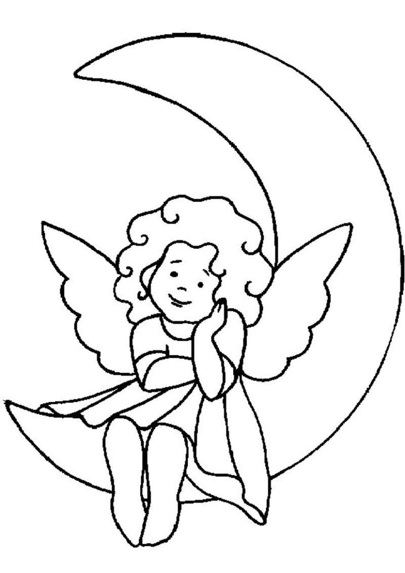 Desenho De Anjo 30 Ideias Para Imprimir Lua Para Colorir