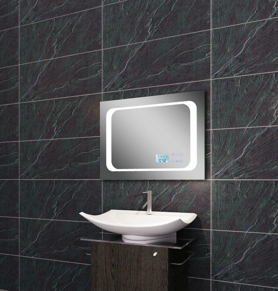 Licht Spiegel Led Beleuchtung Uhr Radio Mp3 Und Touch Schalter 70x50cm Ltm7050 Badspiegel Led Led Beleuchtung Led