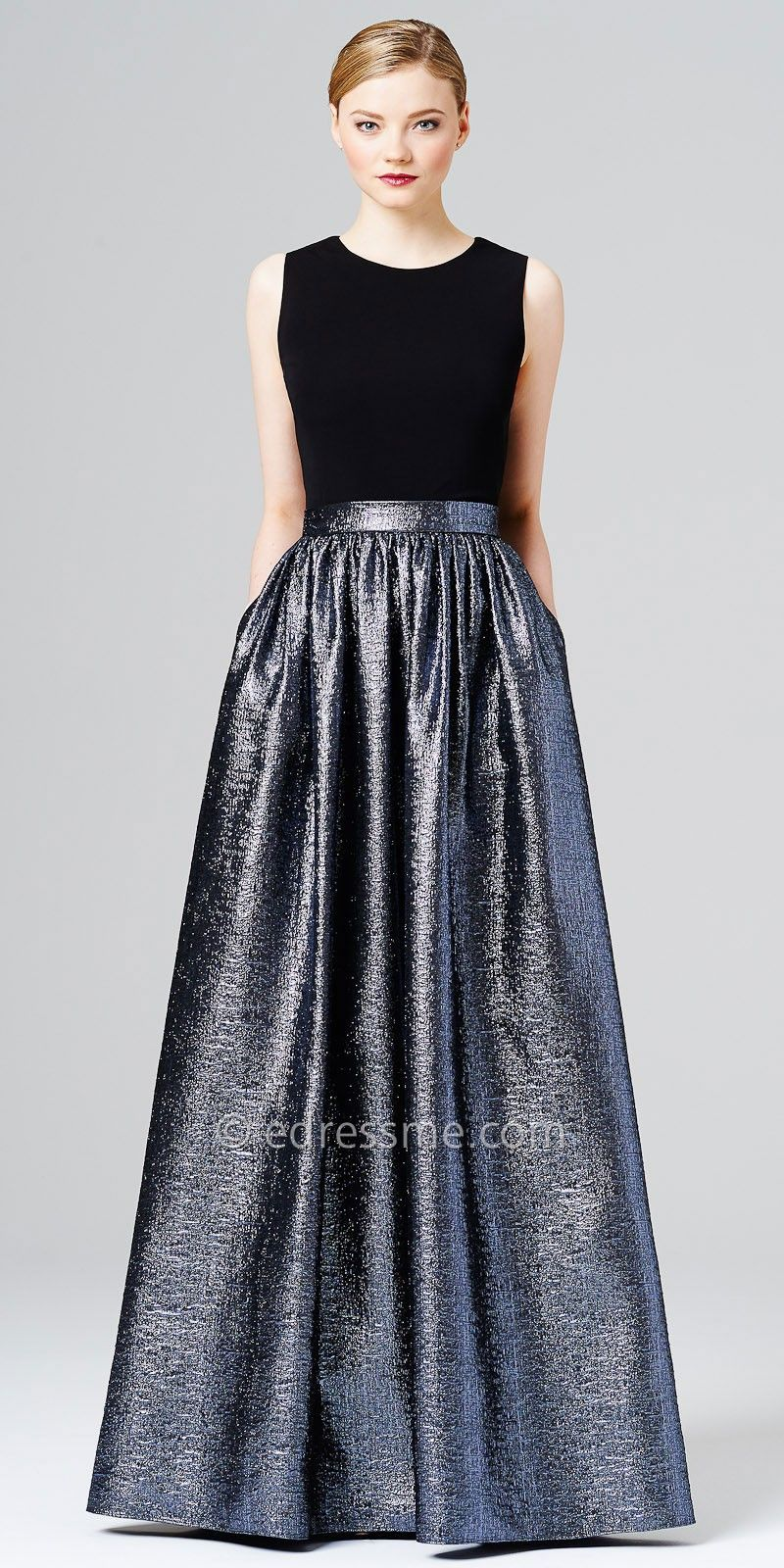 silver metallic evening dress