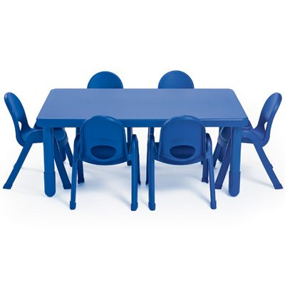 Ab70520pb Myvalue Preschool Rectangle Table 6 Chair Set Royal Blue Daycare Furniture Preschool Tables Furniture Direct Preschool table and chairs set