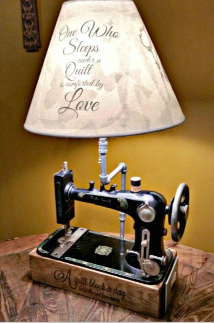Dekoideen Wohnzimmer Ideen Raumgestaltung DIY Balkon Naehmaschine Lampe