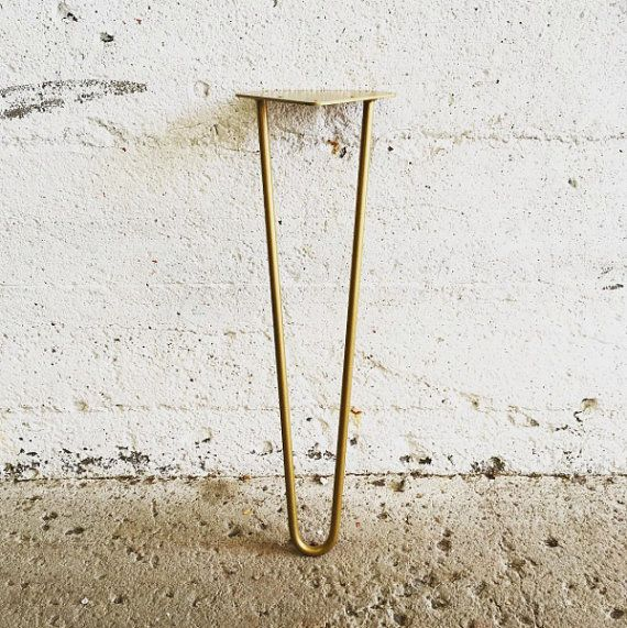 Set Of 4 4 To 20 Golden Brass Hairpin Etsy Brass Table Legs Golden Brass Gold Hair Pin