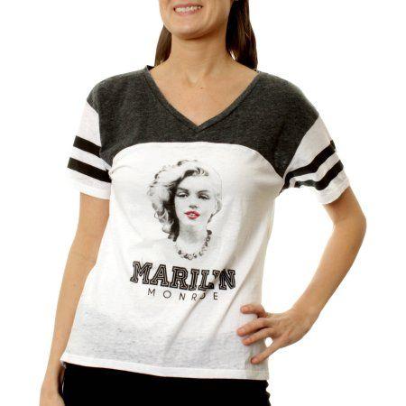 Marilyn Monroe Juniors' Graphic Burnwash Athletic Football HiLo Tee, Size: Small, Black