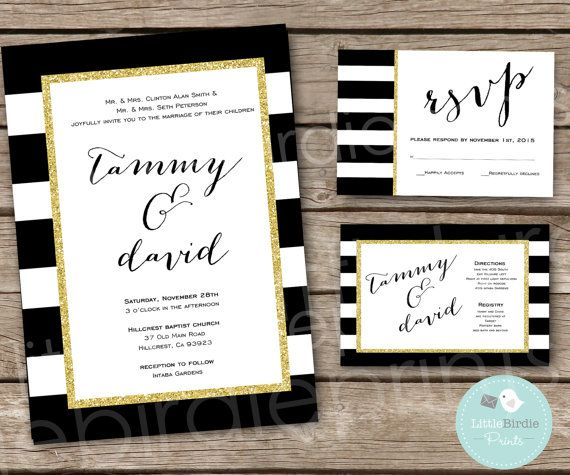 Black White Gold Wedding Invitations: WEDDING INVITATION Black White Gold Glitter By