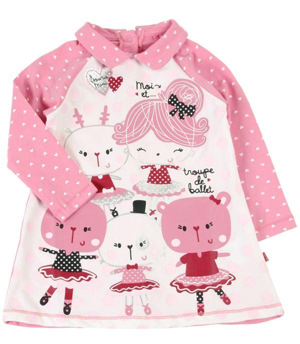 Souris Mini Robe rose et ivoire. Collection: Rouge comme un lumignon!