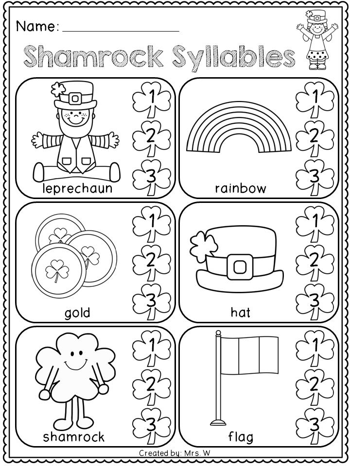 free st patrick 39 s day literacy and math printables kindergarten shamrock syllables. Black Bedroom Furniture Sets. Home Design Ideas